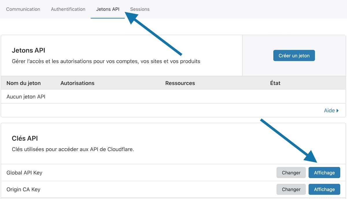 Récupérez votre clef API dans Cloudflare