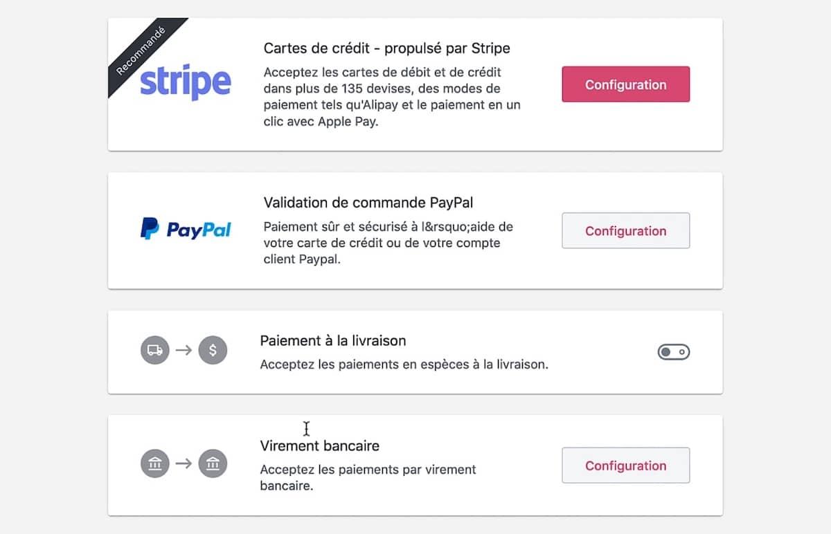 Configurer les paiements avec WooCommerce