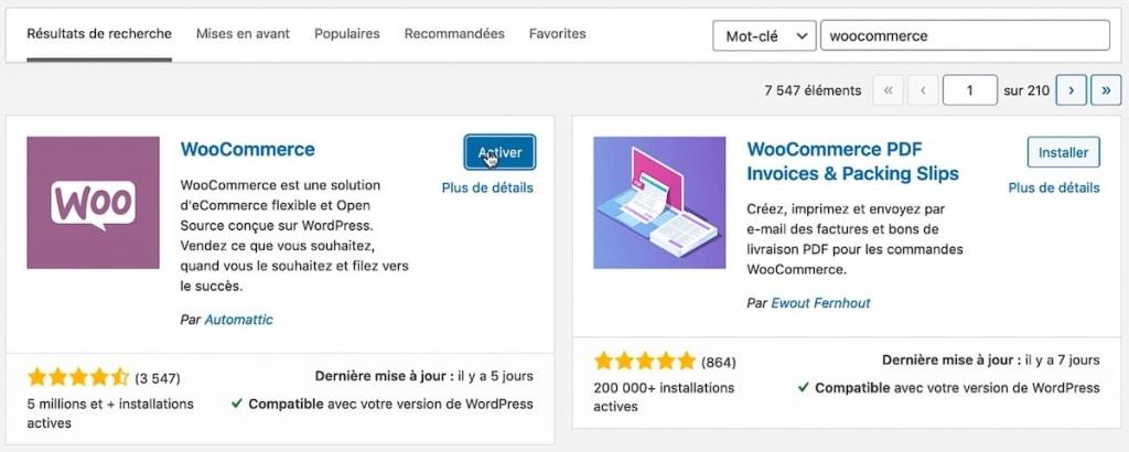 Installer et activer l'extension WooCommerce sur votre site WordPress