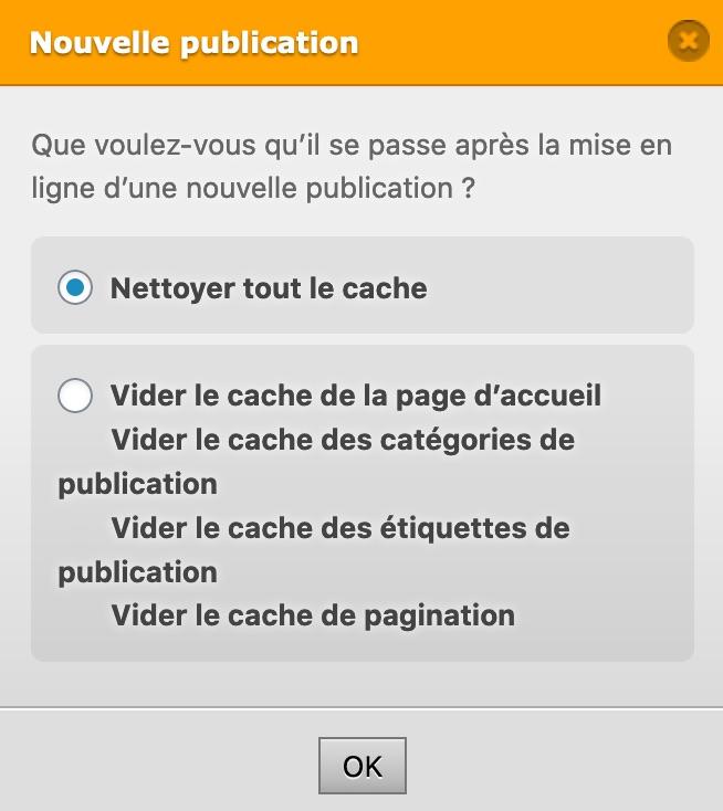 Vider tout le cache lors d'une nouvelle publication - WP Fastest Cache - Plugin WordPress