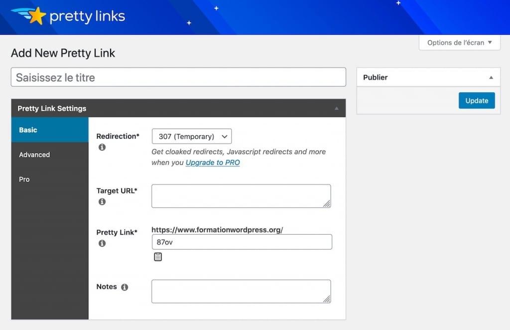 Tableau pour créer une nouvelle redirection avec Pretty Links