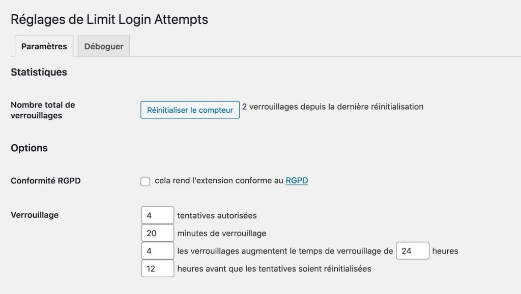 Extrait des réglages de Limit Login Attempts Reloaded