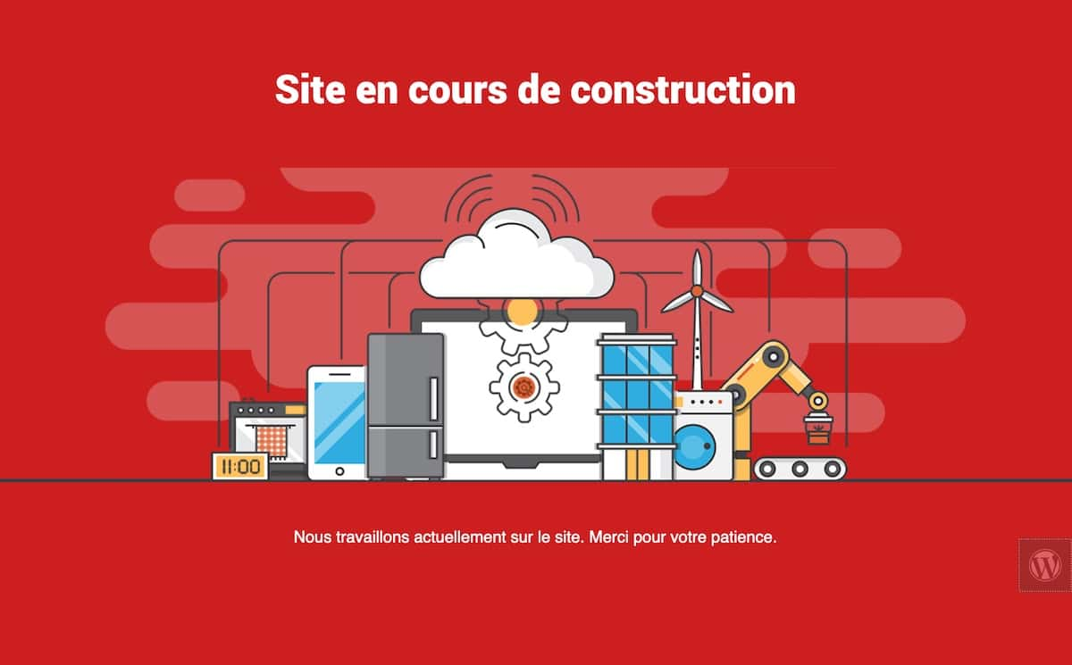Exemple de page pour un site WordPress en construction