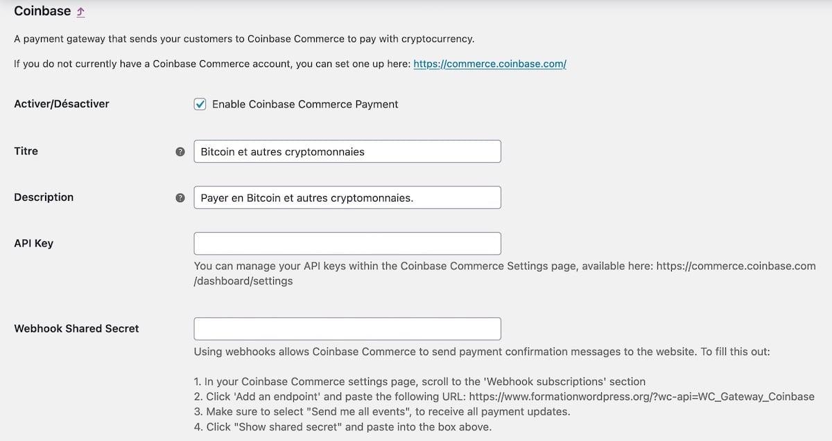 Les réglages du plugin Coinbase Commerce dans WooCommerce