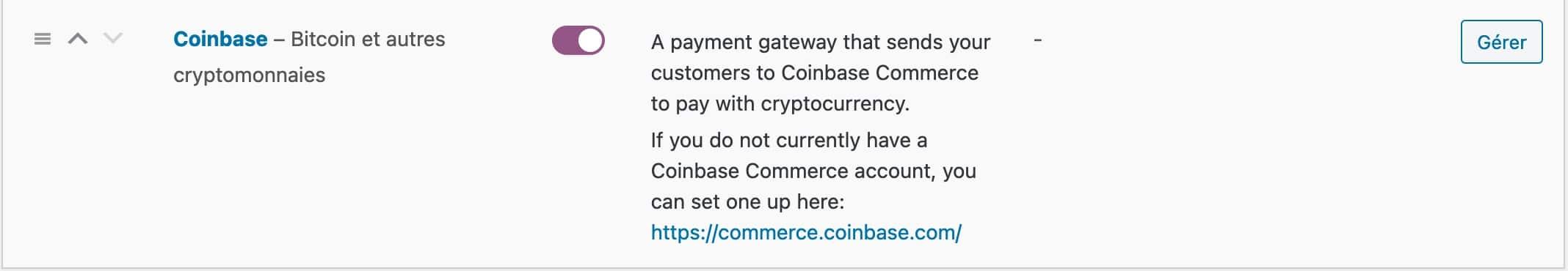 Le moyen de paiement Coinbase dans les réglages de WooCommerce