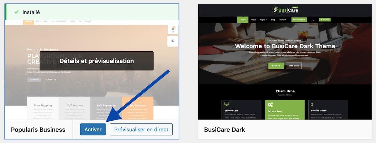Activer un thème WordPress