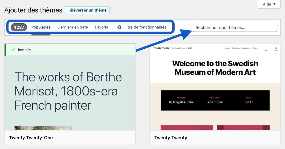 Ajouter un thème WordPress depuis l'admin de WordPress