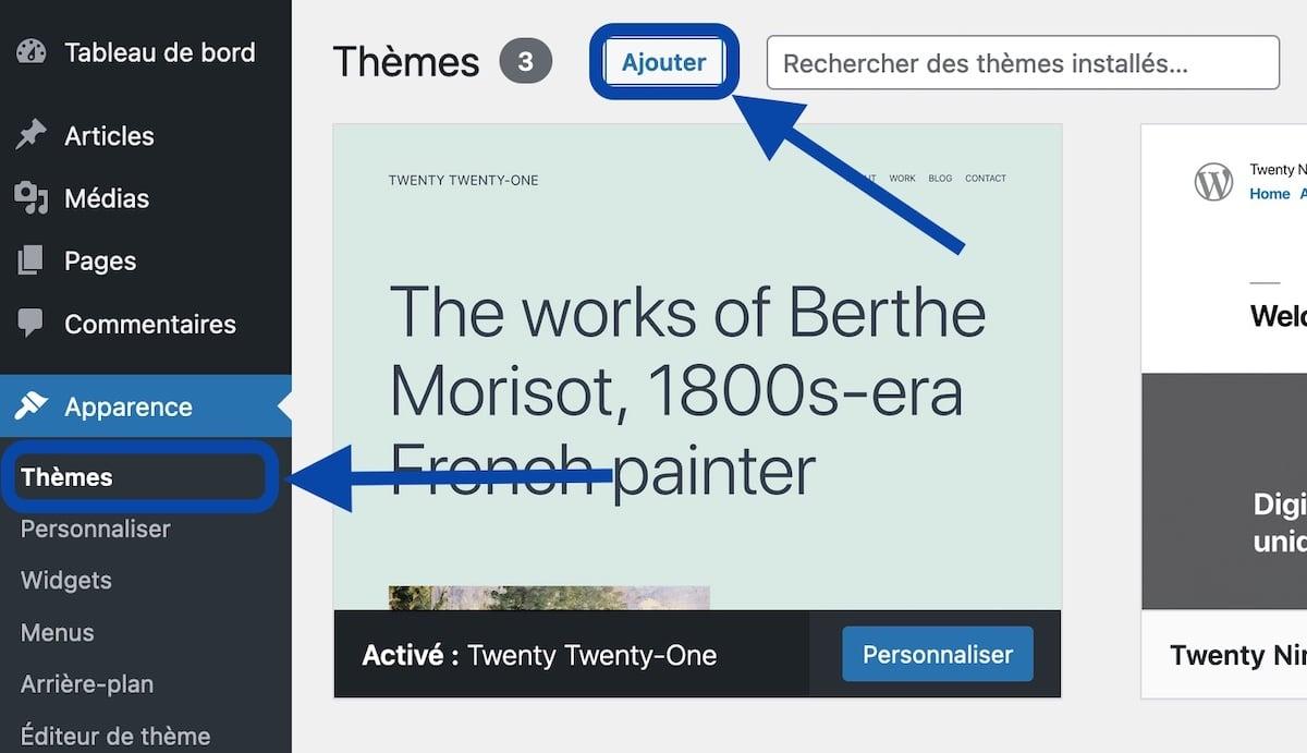 Menu Apparence de l'admin de WordPress, pour accéder aux thèmes