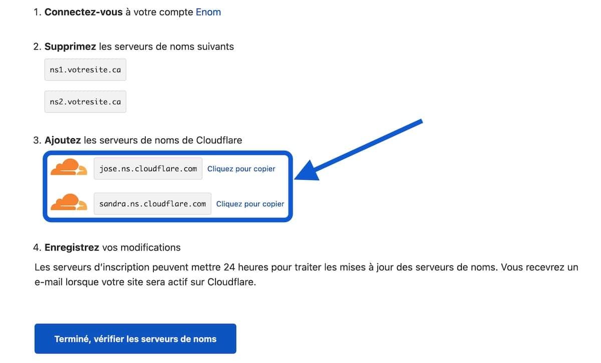 Changer les serveurs de noms de votre site