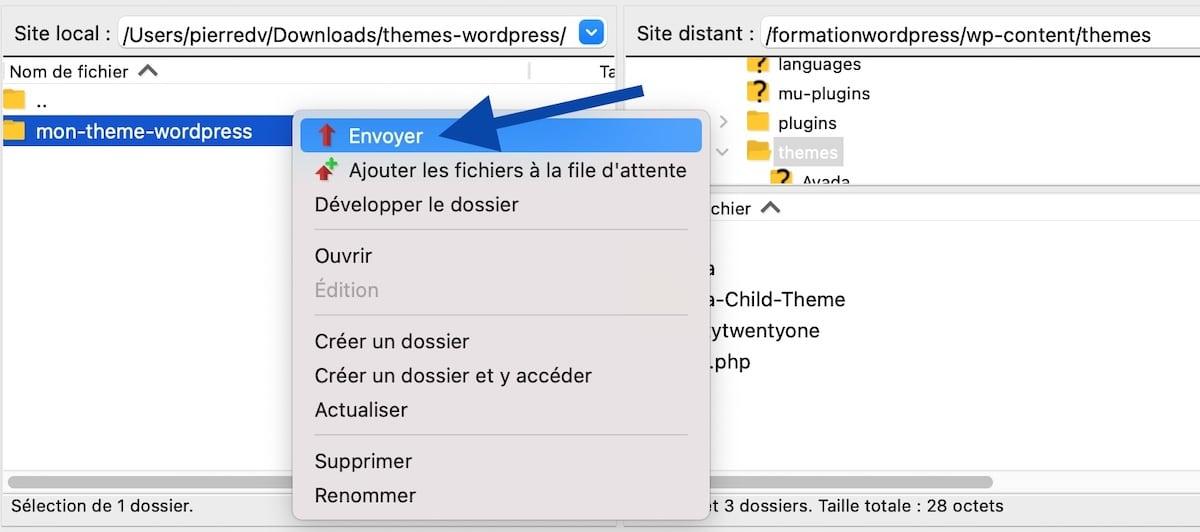 Envoyer un thème WordPress via le FTP