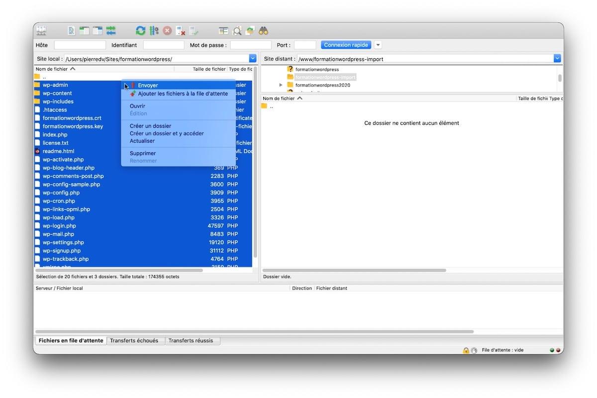 Exporter les fichiers de votre installation locale vers votre serveur via un client FTP tel que FileZilla