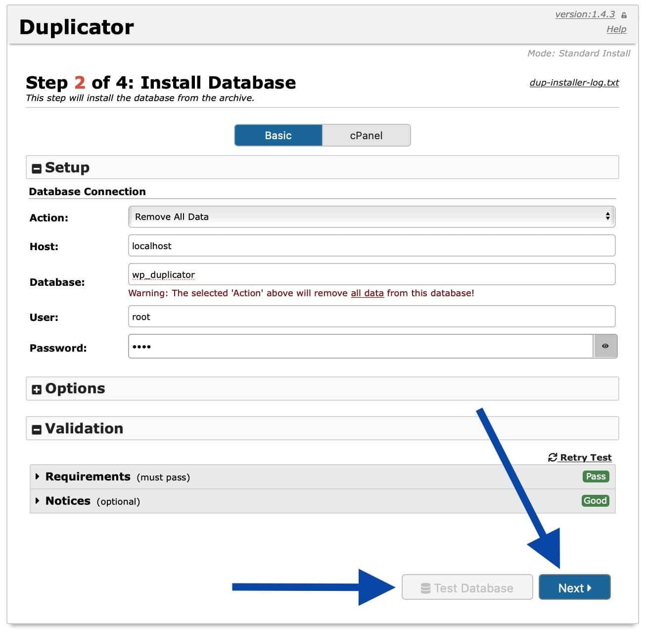 Base de données : deuxième étape de l'importation avec Duplicator