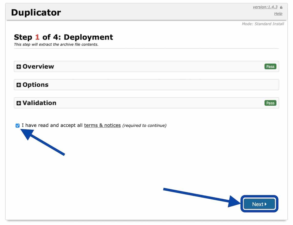 Première étape de l'importation avec Duplicator