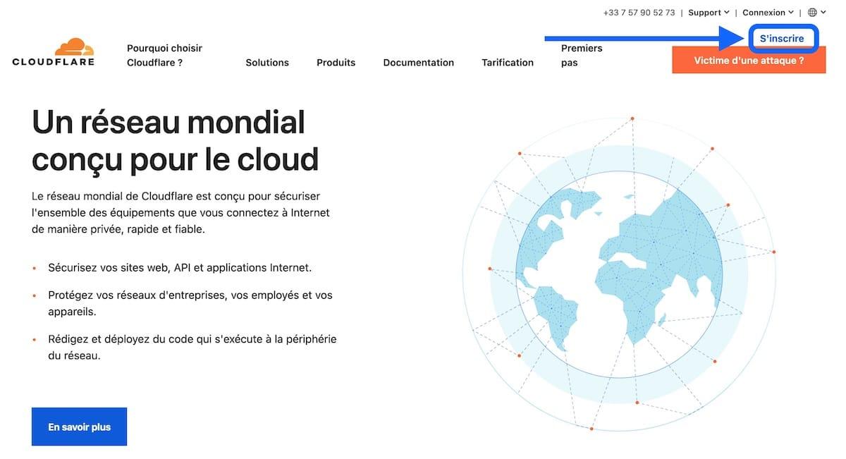S'inscrire sur Cloudflare