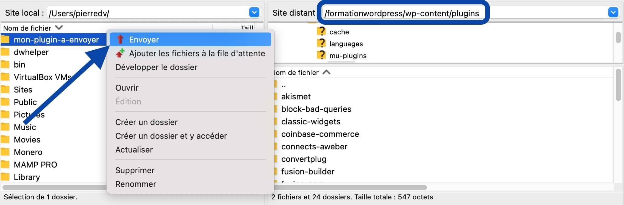 Installer une extension WordPress via un logiciel FTP tel que Filezilla