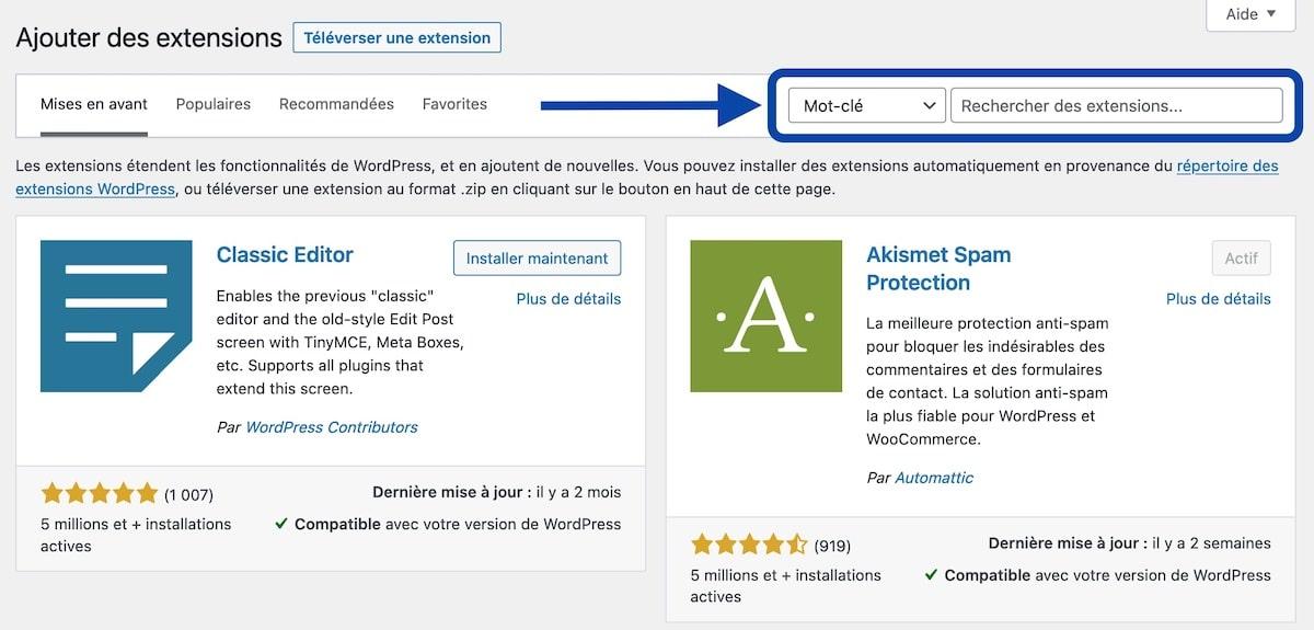Installer un plugin WordPress depuis l'admin de WordPress
