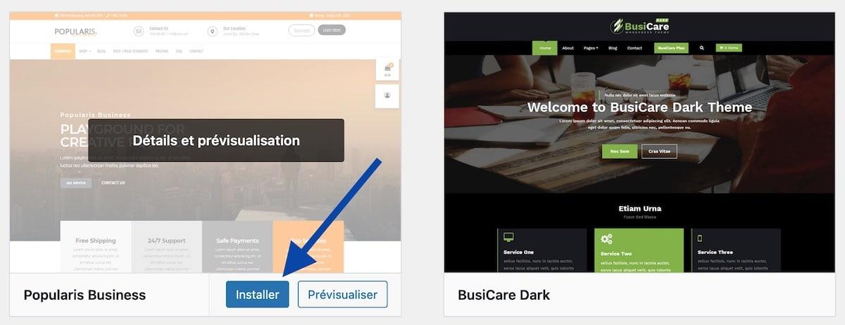 Installer un thème depuis le catalogue de WordPress