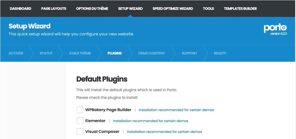 Installation des plugins inclus avec le thème Porto